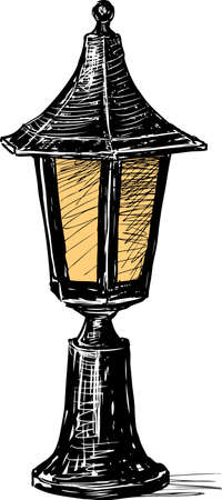 Vector drawing of an old street lamp