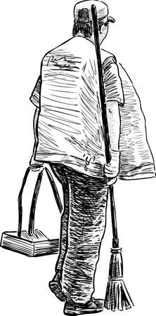 Sketch of a street cleaner at work Illustration