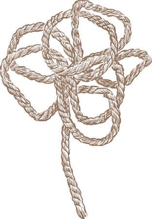 花の形にロープのスケッチ。  イラスト・ベクター素材