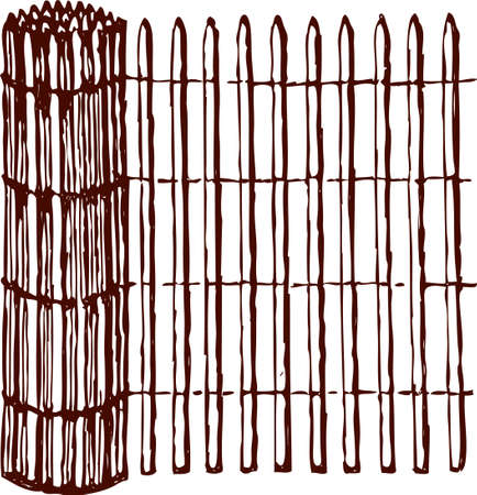 Vector drawing of a rolled wicker mat.