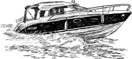 outboard: Sketch of a pleasure boat in a trip