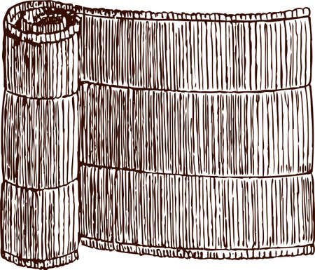 Vector image of a rolled wicker mat