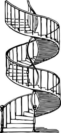 Vector drawing of a spiral staircase