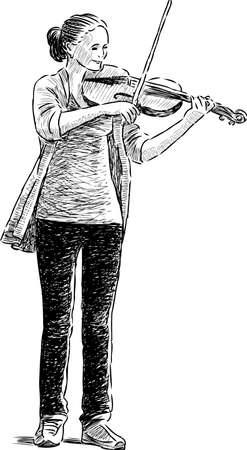 Sketch of a girl playing a violin Illustration