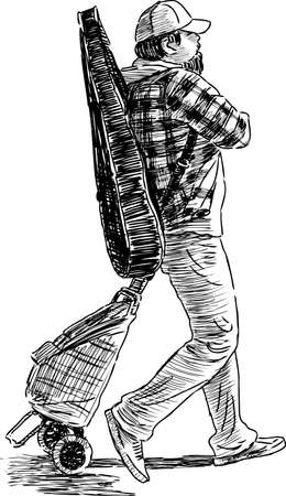 A casual street musician walking Illustration