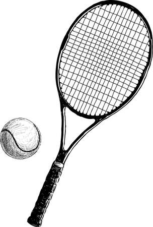 Tennis racket with a ball. Vector drawing