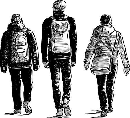 Drie studentenvrienden gaan weg
