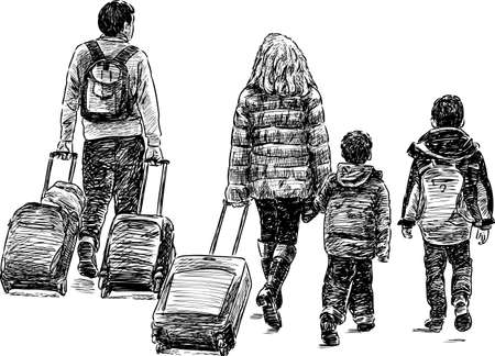 Sketch of a family in a travel Illustration