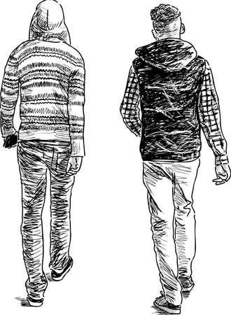De tienerjongens gaan weg. Vector tekening