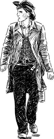 Sketch of a man in the vintage costume.