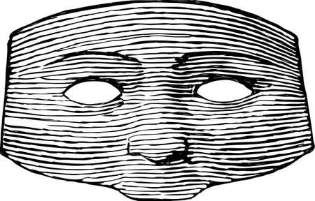 Drawing of a vintage masquerade mask.