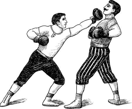 Fight of the boxers.Vector illustration. Illustration