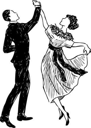 Vector Zeichnung eines tanzenden Paares der Retro- Leute