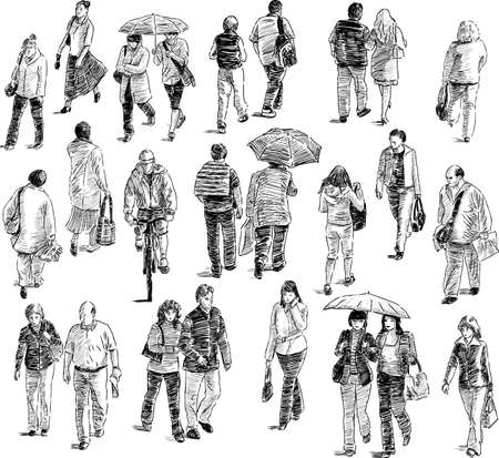 Sketch of the crowd of the townspeople on the city street