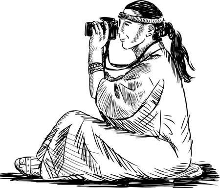 Tourist woman takes picture.