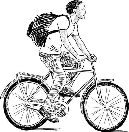 Sketch of a guy riding a bicycle Ilustrace