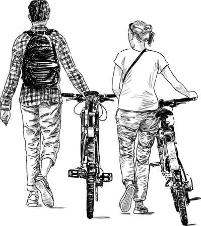 The young man and woman walk with their bicycles in black and white illustration