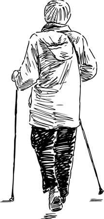 A senior woman walks with the norwegian sticks