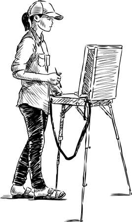 A young artist student  in open air