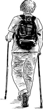 backview: An elderly woman walks with the norwegian sticks Illustration