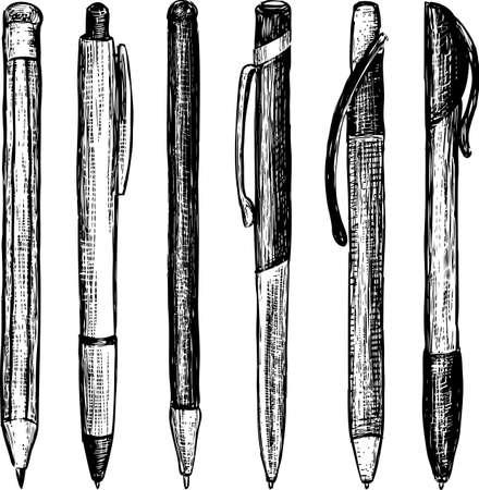 Sketches of the different writing instrument. Illusztráció