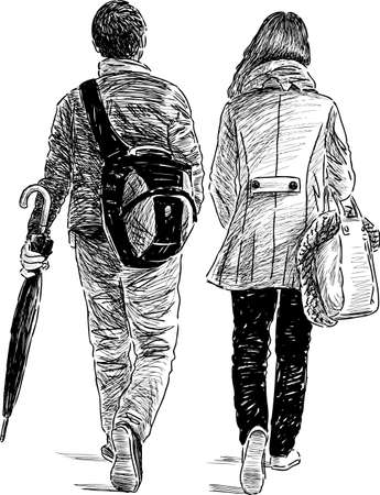 backview: Sketch of a walking young citizen.