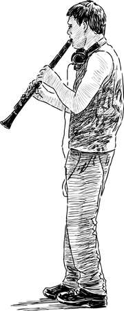 A young street musician plays an oboe