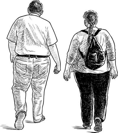 backview: Two people walking. Illustration