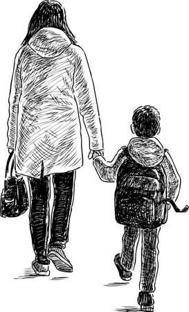 Mother and son go to school Stock Illustratie