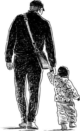 backview: Father and his child go on a stroll
