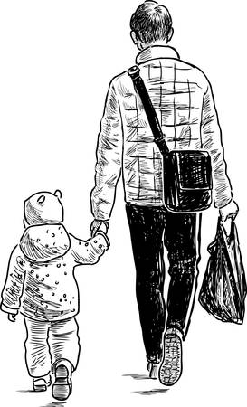 Father and his baby go from store