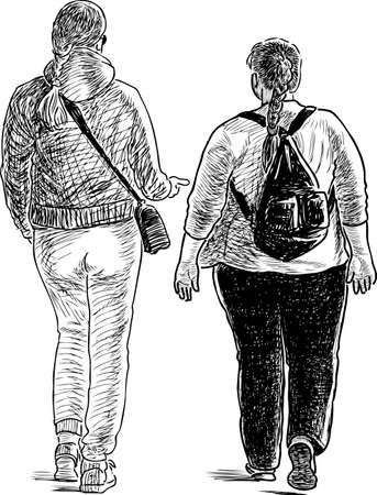 Two townswomen talk on a walk