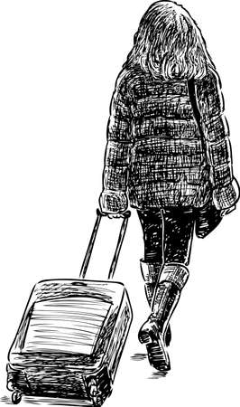 A young woman goes to a travel Illustration