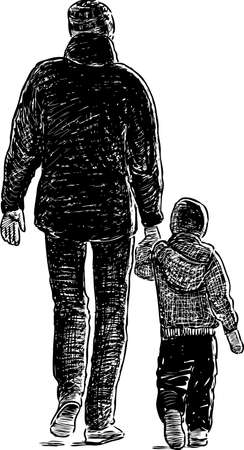 Father and his little son on a walk