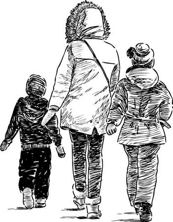 Mother and her kids on a walk Illustration