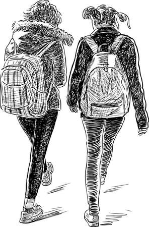 Sketch of the students girls.