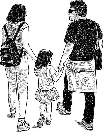 A young family goes for a walk