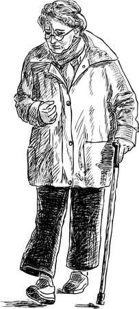 Sketch of an elderly woman on a walk