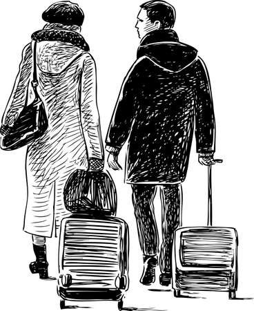 A couple with the suitcases in a trip.