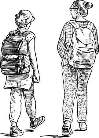les filles de l & # 39 ; école vont pour une promenade