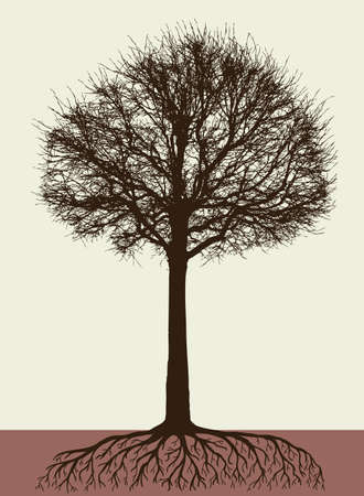 Silhouette of a tree with the roots Illustration