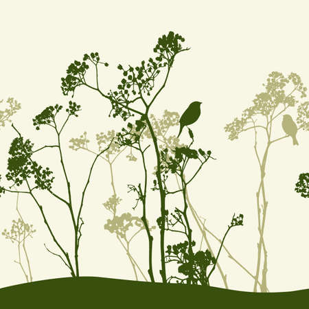 Silhouettes of wildflowers and birds.