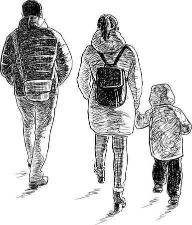 A young family goes on a walk Ilustração