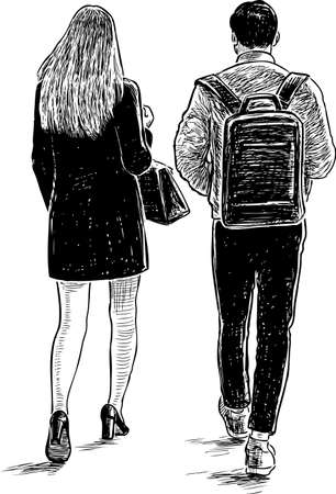 Young people met on a date illustration
