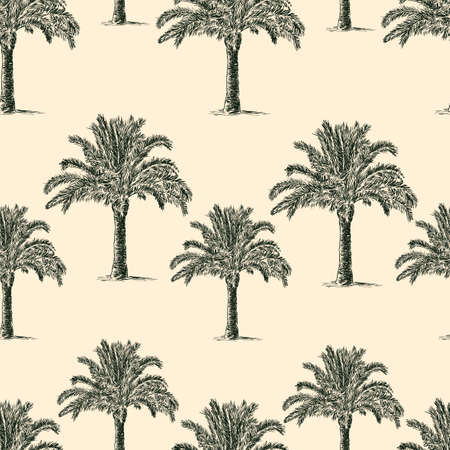 seamless background of the palm trees Illusztráció