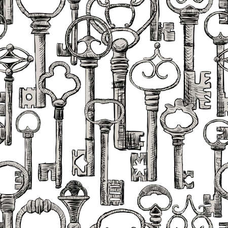 Seamless background of old keys.