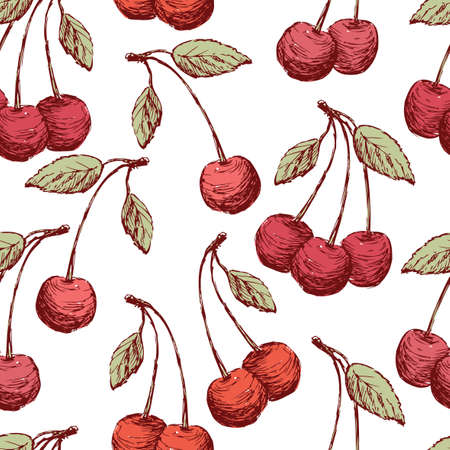 Background of the drawn cherries