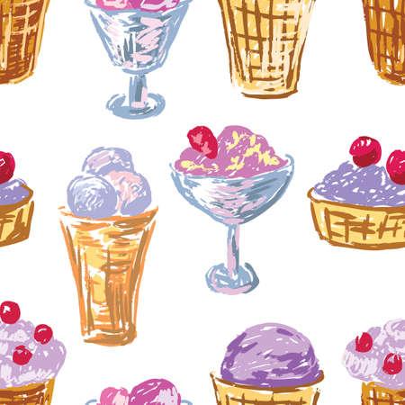 Pattern of various fruit ice cream