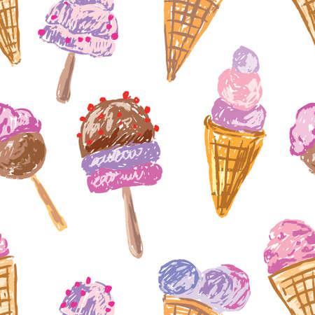 Seamless background of fruit ice cream