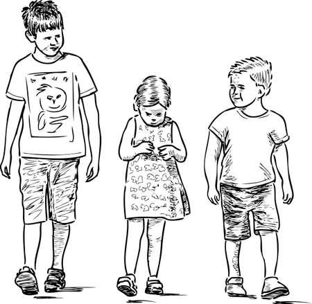 Croquis des petits frères et sœurs se promenant